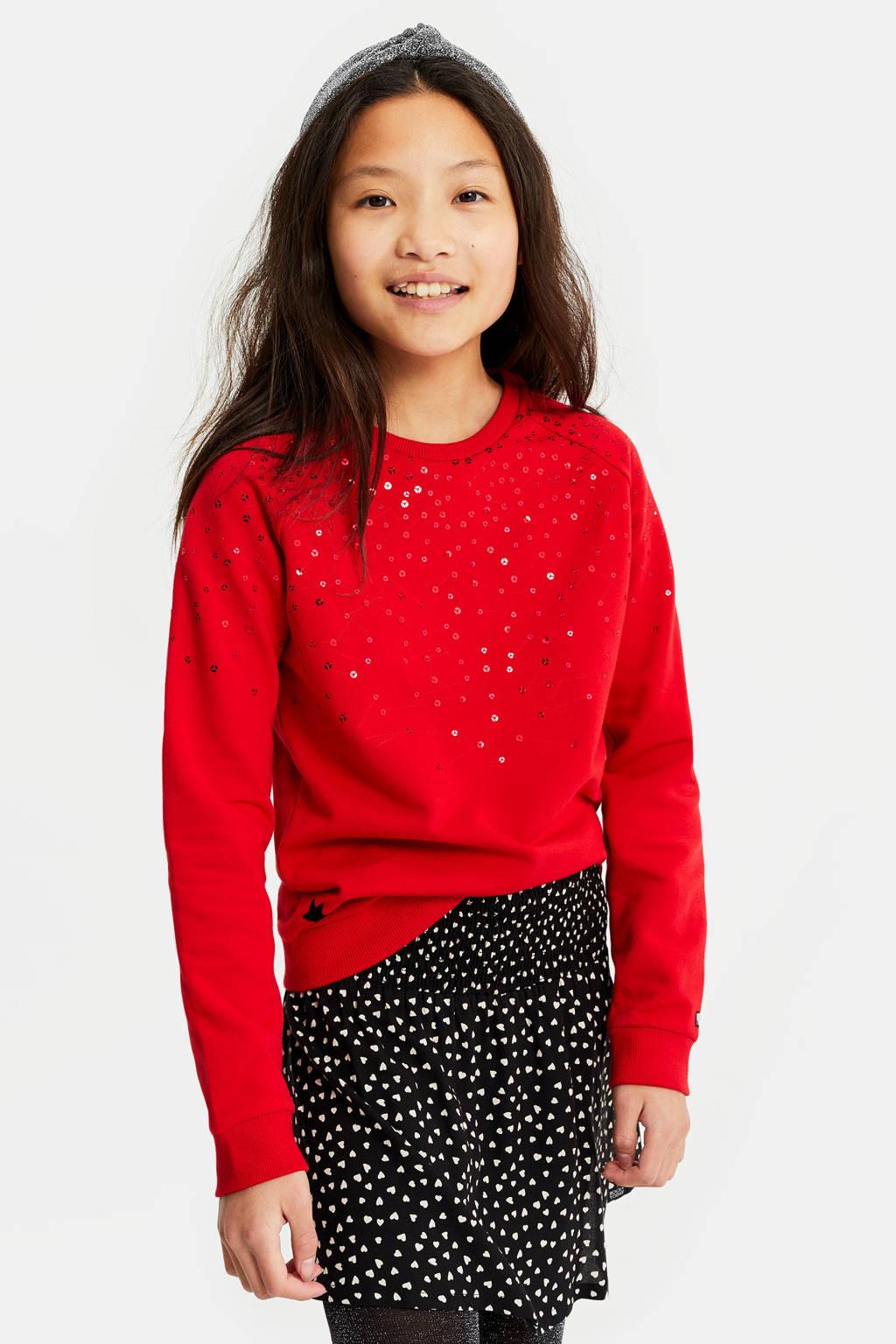WE Fashion sweater met pailletten rood, Rood