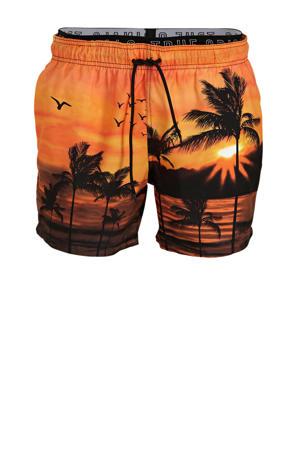 zwemshort met all over print oranje/zwart