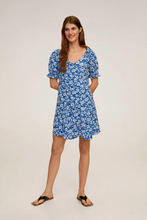off shoulder jersey jurk met all over print middenblauw