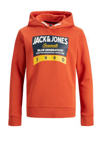 JACK & JONES JUNIOR hoodie Tonni met printopdruk oranje, Oranje