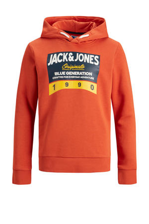 hoodie Tonni met printopdruk oranje