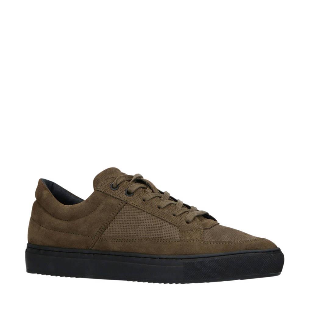 Sacha   suède sneakers kaki, Kaki/donkergroen