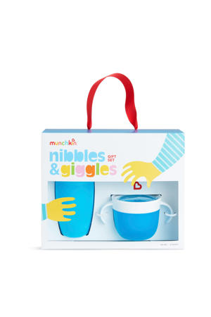 nibbles and gigles drinkbeker+snackschaal blue