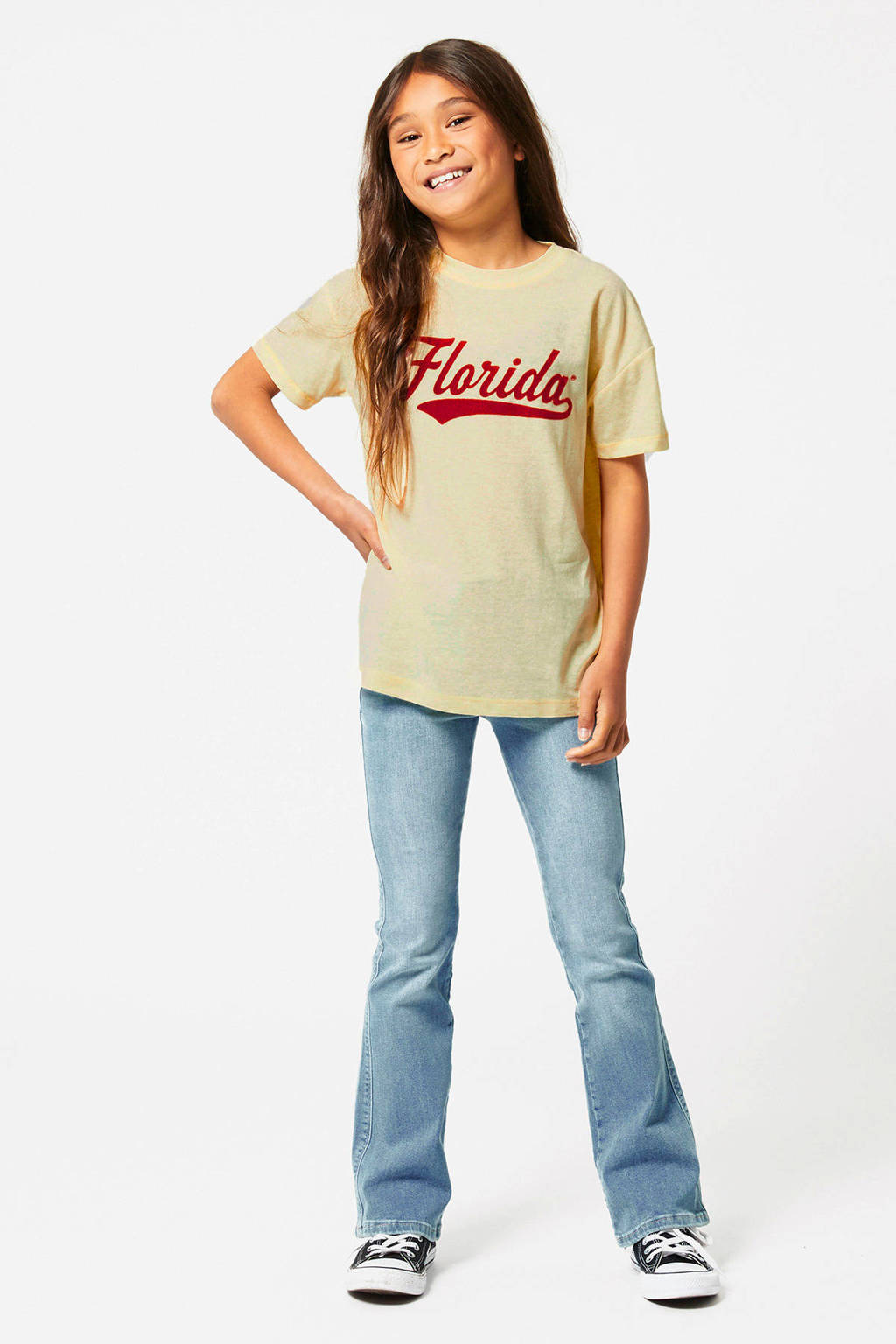 America Today Junior T-shirt Eliena met printopdruk lichtgeel/rood, Lichtgeel/rood
