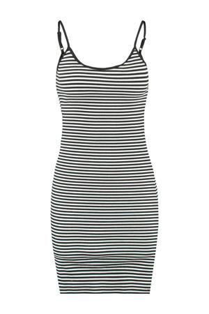 ribgebreide jersey jurk Drew wit/zwart