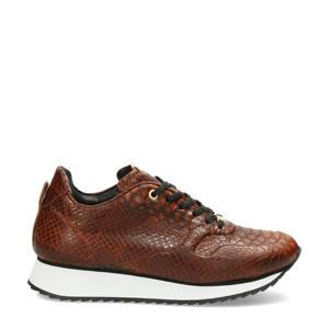 leren sneakers met crocoprint bruin