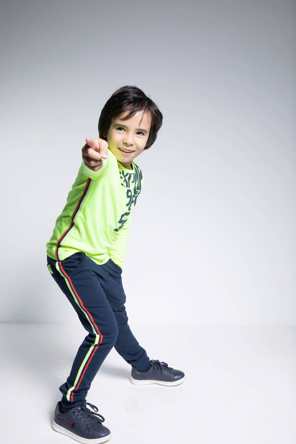 TYGO & vito slim fit joggingbroek met zijstreep donkerblauw/wit/oranje, Donkerblauw/wit/oranje