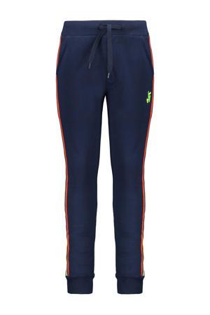 slim fit joggingbroek met zijstreep donkerblauw/wit/oranje