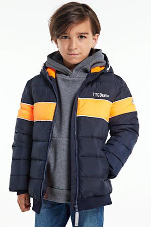 winterjas donkerblauw/oranje