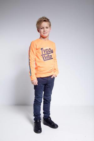 sweater met contrastbies oranje