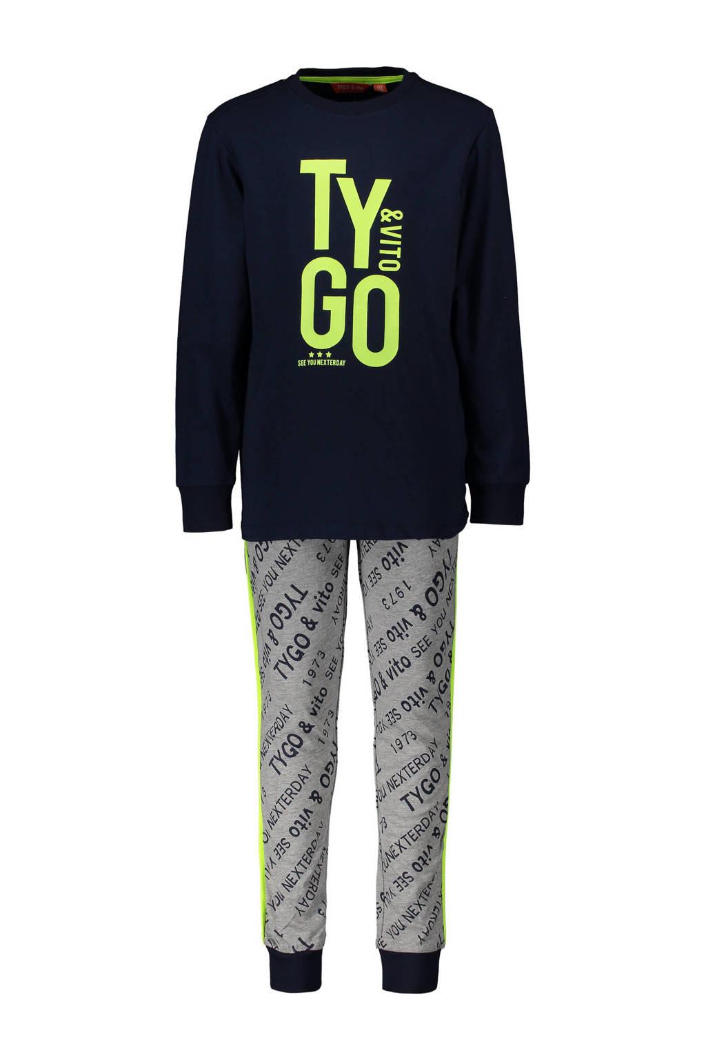 TYGO & vito   pyjama printopdruk donkerblauw/grijs, Donkerblauw/grijs melange/grijs