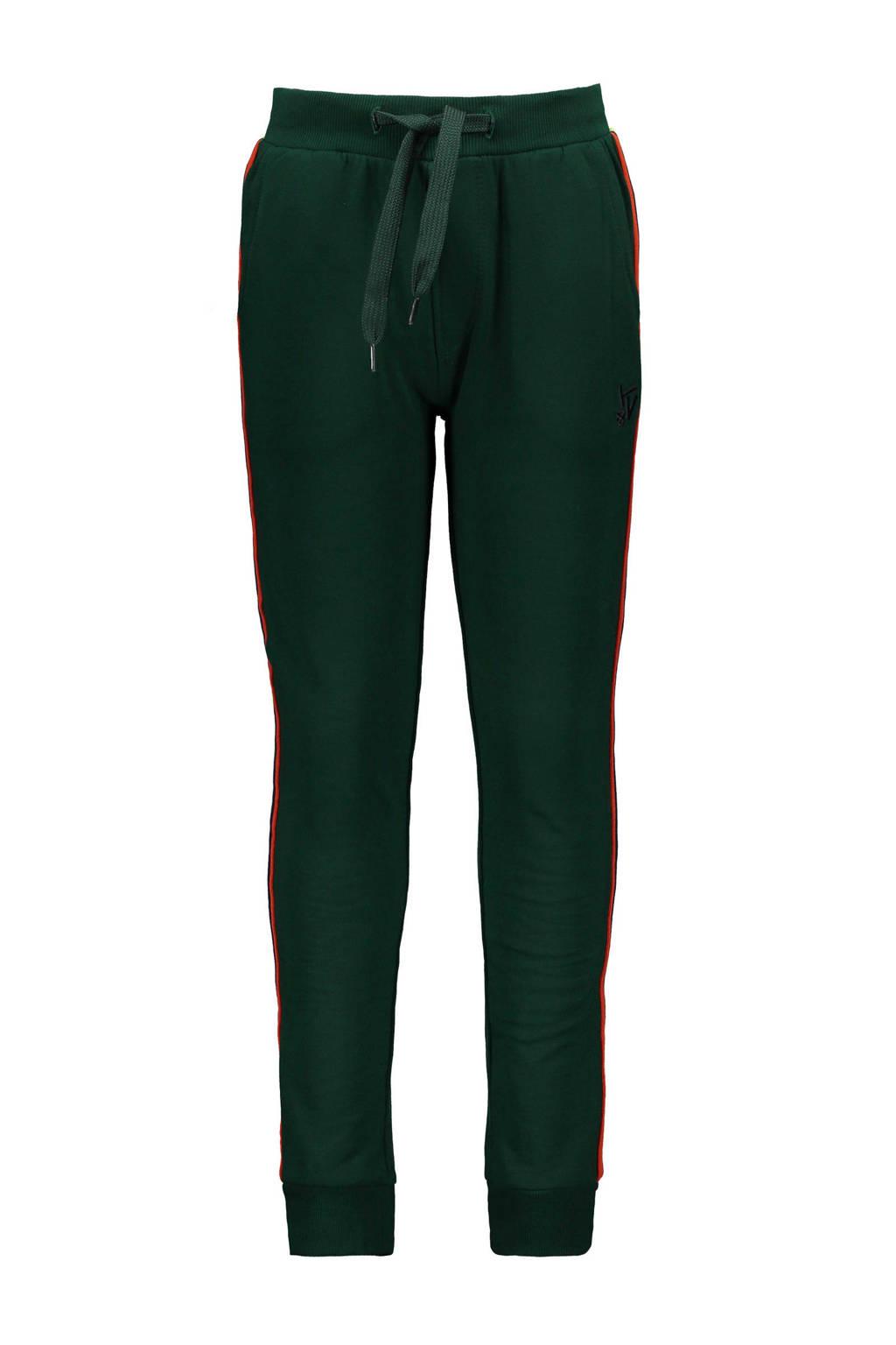 TYGO & vito slim fit joggingbroek met zijstreep donkergroen/rood/neon groen, Donkergroen/rood/neon groen