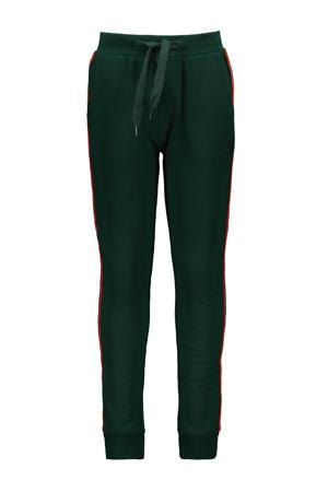 slim fit joggingbroek met zijstreep donkergroen/rood/neon groen