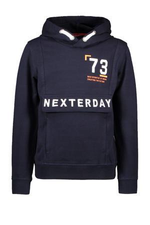 hoodie met tekst donkerblauw/oranje/wit