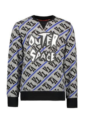 sweater met tekst grijs melange/blauw/zwart