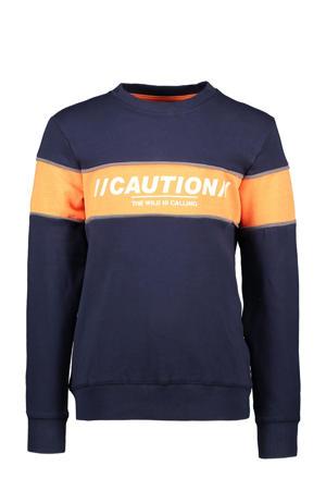 sweater donkerblauw/oranje