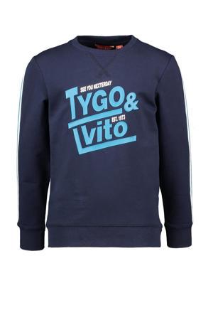 sweater met contrastbies donkerblauw/turquoise