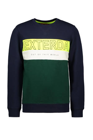 sweater donkerblauw/geel/donkergroen