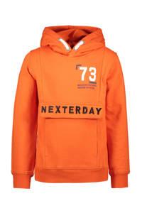 TYGO & vito hoodie met tekst oranje/wit/donkerblauw, Oranje/wit/donkerblauw