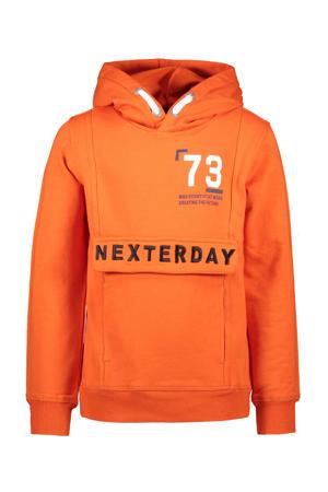 hoodie met tekst oranje/wit/donkerblauw