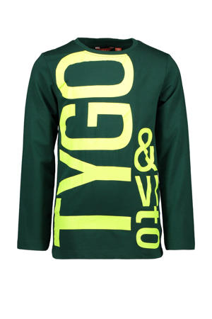longsleeve met logo groen/geel