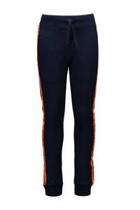 TYGO & vito slim fit broek met zijstreep donkerblauw/oranje, Donkerblauw/oranje