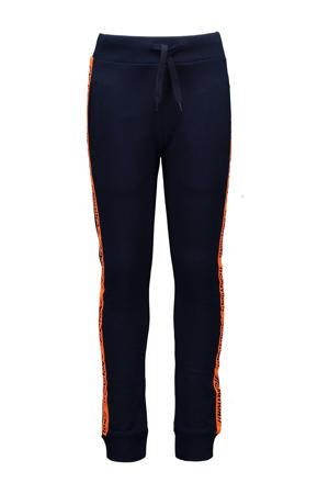 slim fit broek met zijstreep donkerblauw/oranje
