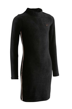 gestreepte fluwelen jurk met contrastbies zwart