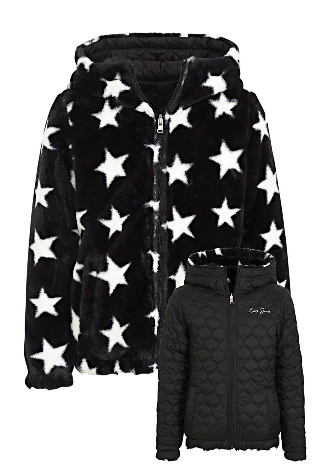 Cars reversible imitatiebont gewatteerde jas Jamill met sterren zwart/wit, Zwart/wit