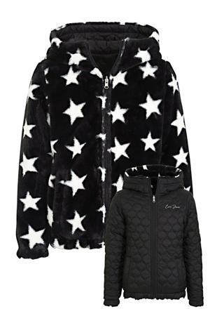 reversible imitatiebont gewatteerde jas Jamill met sterren zwart/wit