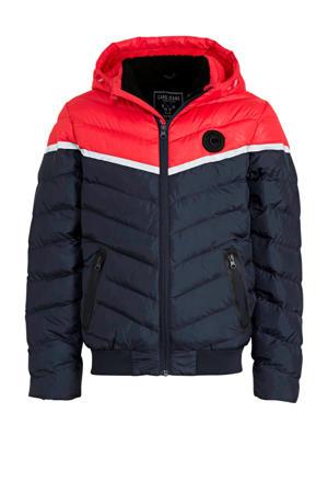 gewatteerde winterjas Crowwy rood/donkerblauw