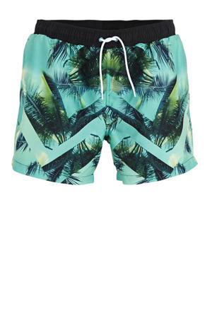 zwemshort met all over print turquoise