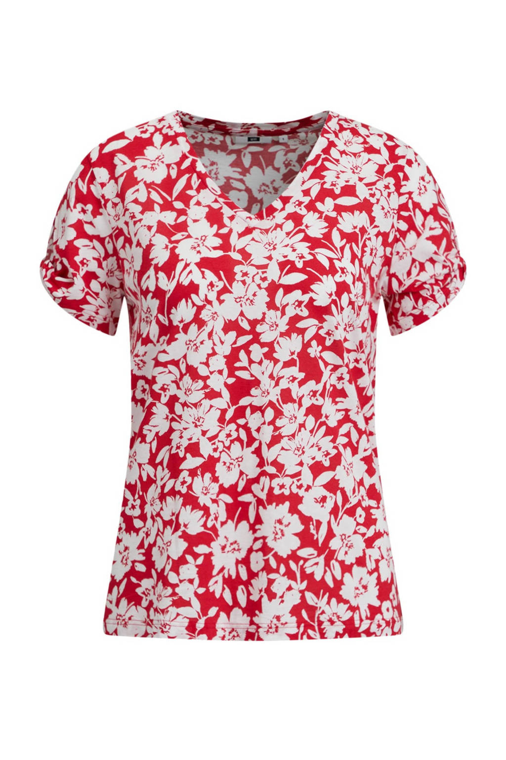 WE Fashion T-shirt met all over print rood/wit, Rood/wit