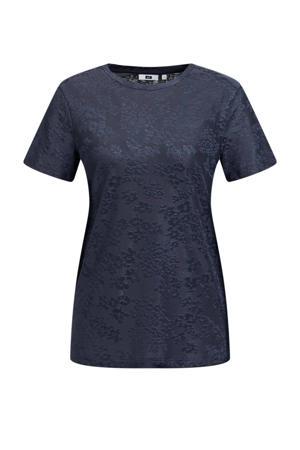 T-shirt met jacquard donkerblayw