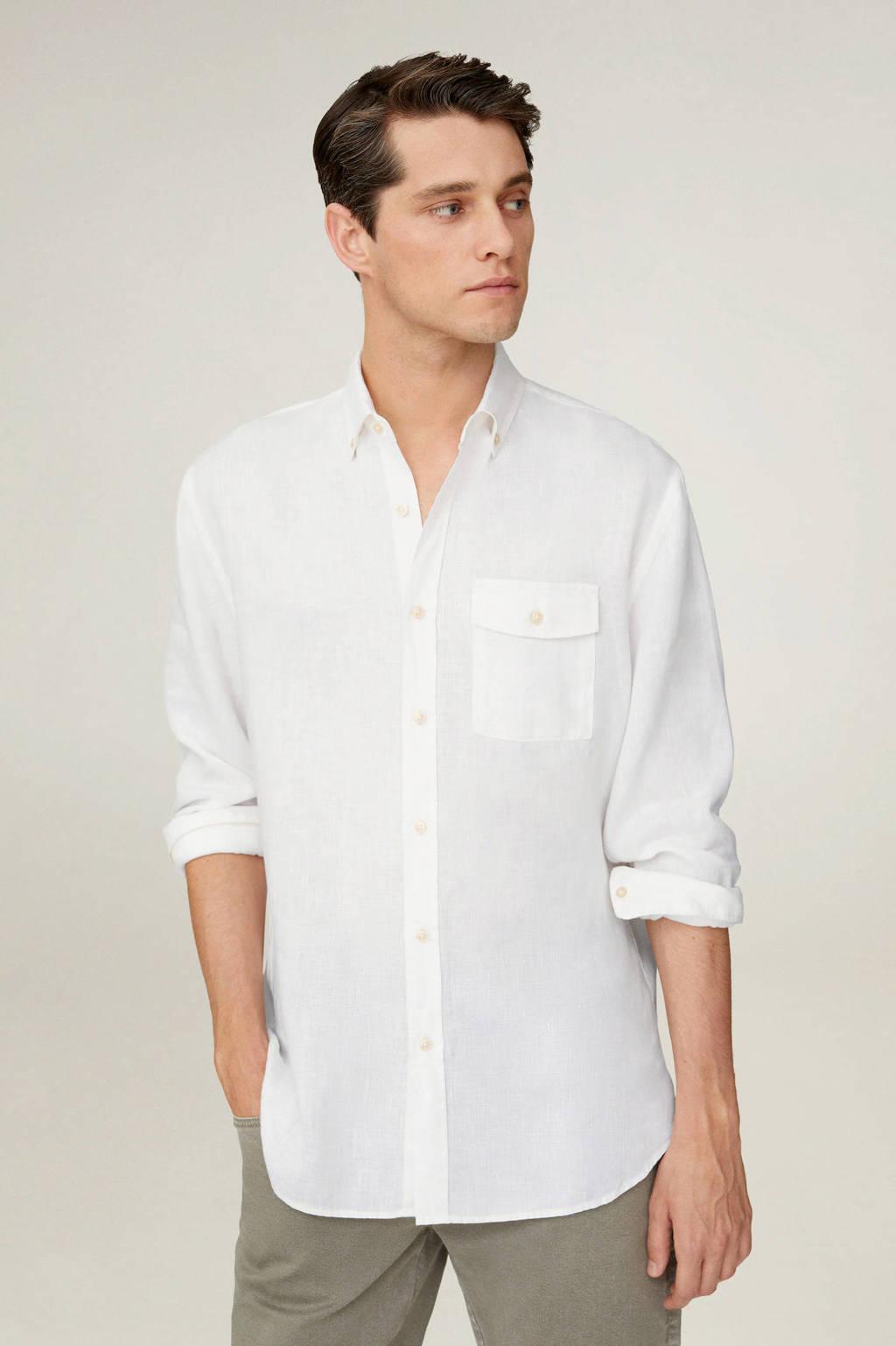 Mango Man linnen regular fit overhemd wit, Wit