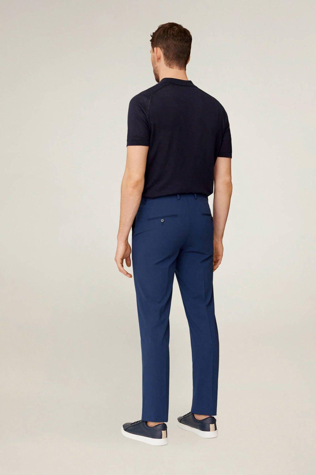 Mango Man slim fit pantalon blauw, Blauw