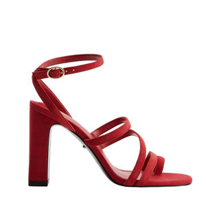 leren sandalettes rood/geraniumroze