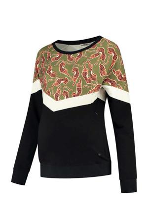 zwangerschaps- en voedingssweater Sweater Nursing Leopard met dierenprint zwart/groen
