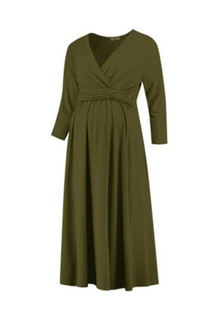 zwangerschapsjurk Dress Nursing Gots olijfgroen