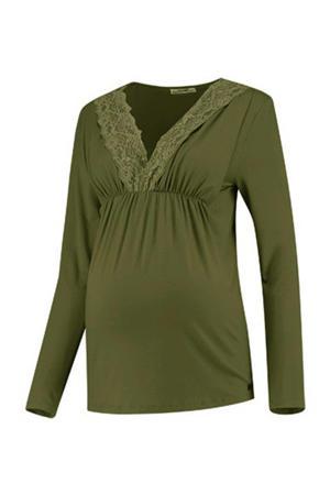 zwangerschapstop Shirt l.sl. Lace Nursing Gots olijfgroen