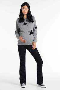 LOVE2WAIT zwangerschaps- en voedingssweater met sterren grijs/zwart, Grijs/zwart