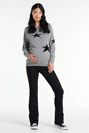 zwangerschaps- en voedingssweater met sterren grijs/zwart