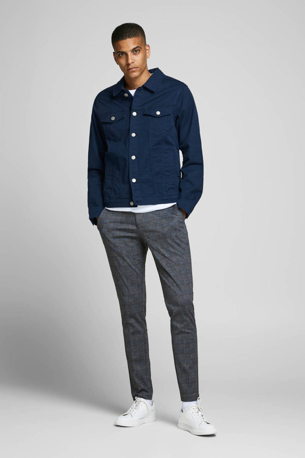 JACK & JONES JEANS INTELLIGENCE geruite slim fit pantalon Marco grijs/zwart/blauw, Grijs/zwart/blauw