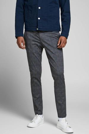 geruite slim fit pantalon grijs/zwart/blauw