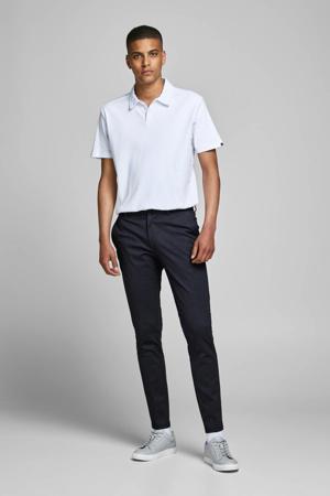 slim fit pantalon met all over print donkerblauw