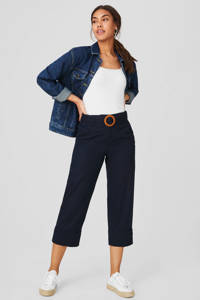 C&A Yessica cropped straight fit broek met linnen donkerblauw, Donkerblauw