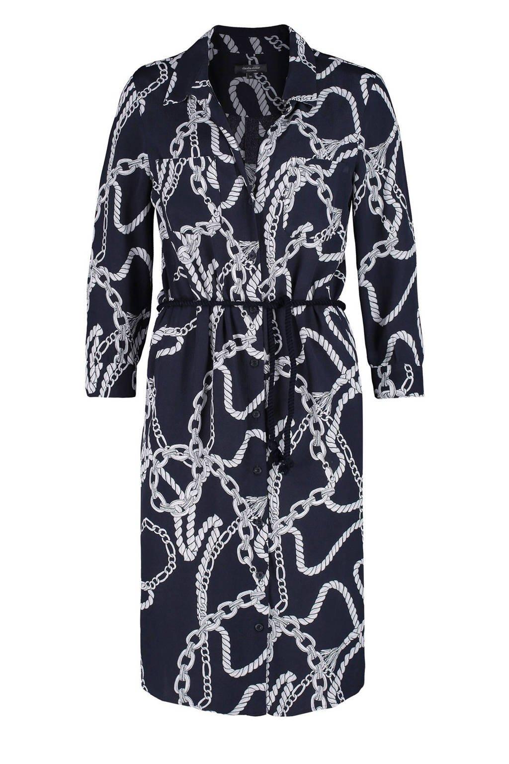 Claudia Sträter blousejurk met all over print en ceintuur marineblauw/wit, Marineblauw/wit