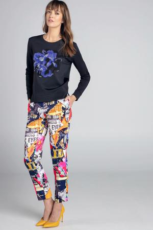 sweater met printopdruk zwart/blauw