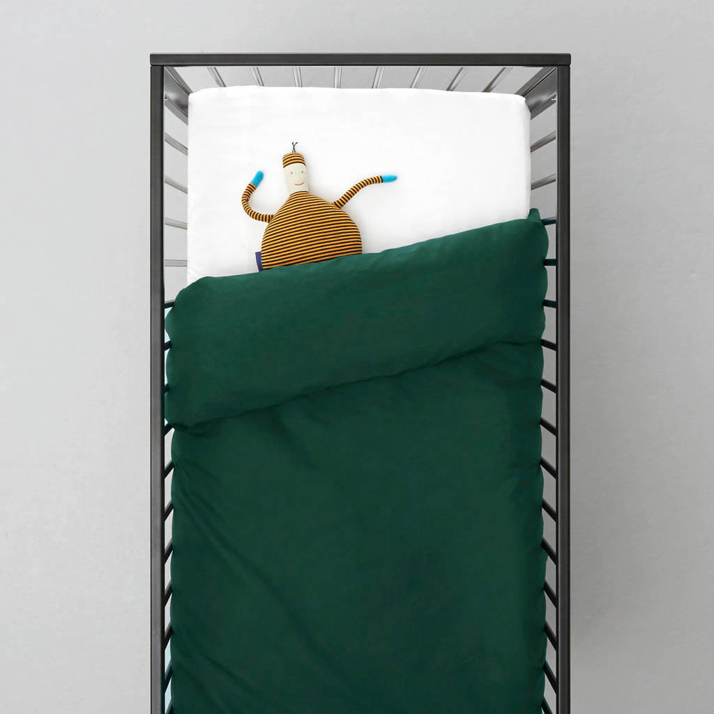wehkamp home ledikant dekbedovertrek, Donkergroen, Baby (100 cm breed)