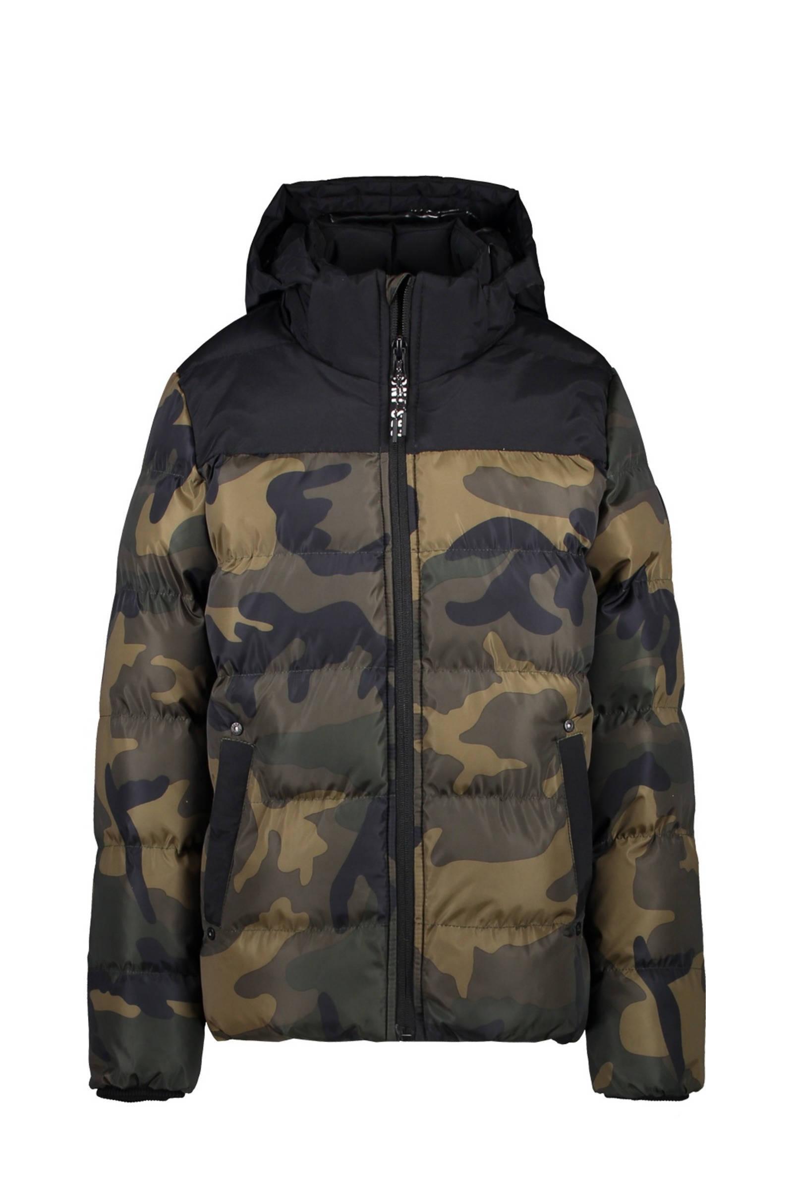 gewatteerde winterjas Scola met camouflageprint groenzwart